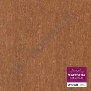 Линолеум Tarkett (Таркетт), Travertine PRO (Травертин ПРО), TERRACOTTA 02, ширина 2 метра, коммерческий-гетерогенный (ОПТ)