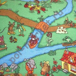 Детский ковролин Калинка, Ручеек, 20, Зеленый, ширина 4 метра (нарезка)