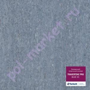 Линолеум Tarkett (Таркетт), Travertine PRO (Травертин ПРО), BLUE 01, ширина 4 метра, коммерческий-гетерогенный (ОПТ)
