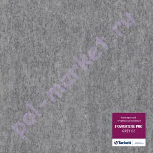 Линолеум Tarkett (Таркетт), Travertine PRO (Травертин ПРО), GREY 02, ширина 3 метра, коммерческий-гетерогенный (ОПТ)